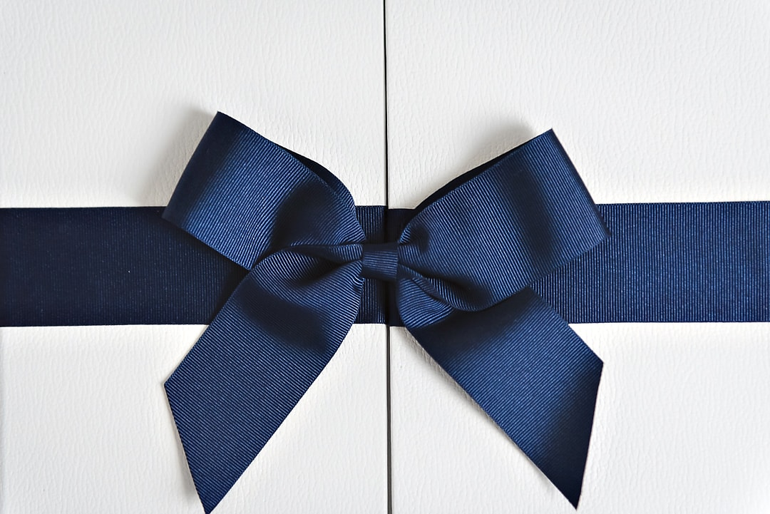 Importance of wedding albums - Close up of white wedding album with blue ribbon