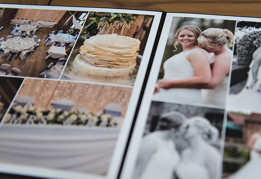 Wedding album importance - open album, close up of pages