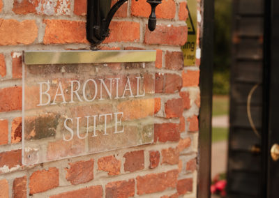 Baronial Suite Glass Sign outside Crondon Park