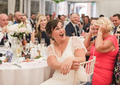 Bride reacts to Grooms speech at Southsea Castle