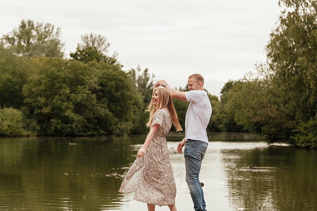Couple Practice First Dance Engagement Photo Shoot Stanborough Lake