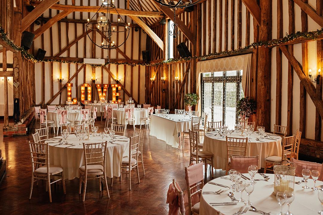 Crondon Park Wedding Reception Room Set Up Baronial Hall for Medium Wedding
