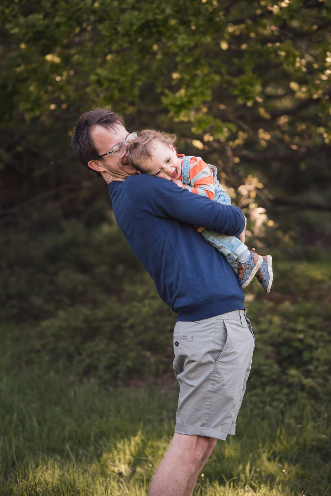 Natural Moment between Dad and Daughter by Harlow Essex Family Photographer