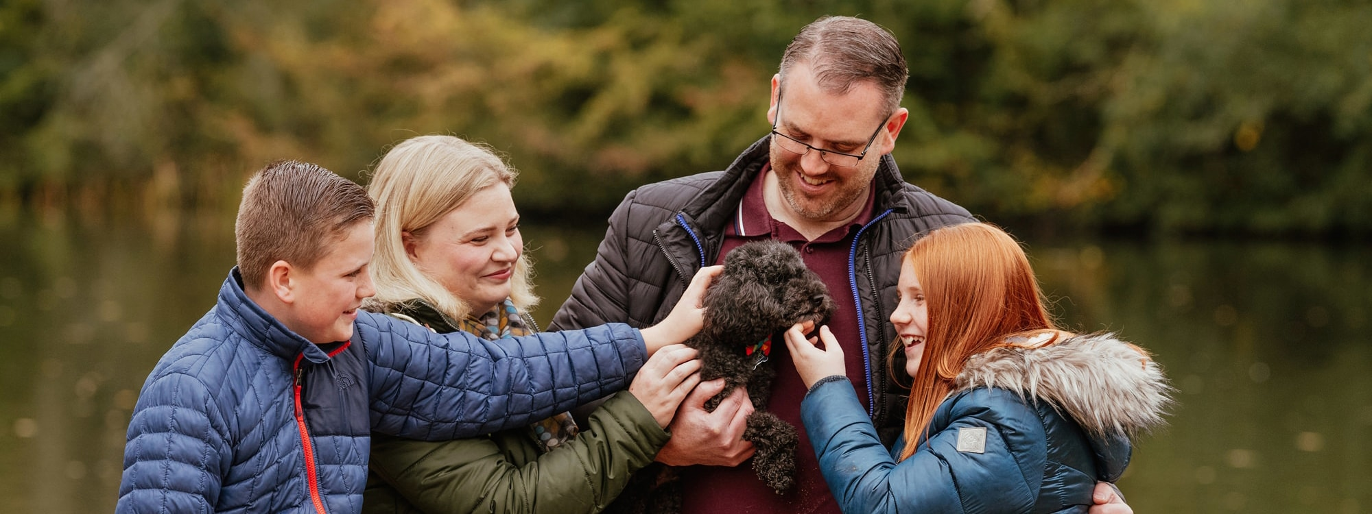 Family of four with their dog in Essex Family Photography Session