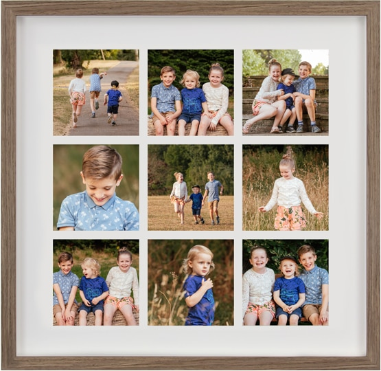 Family Photography Nine Image Storyboard Frame Walnut