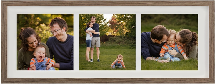Family Photography Three Image Triptych Frame Walnut