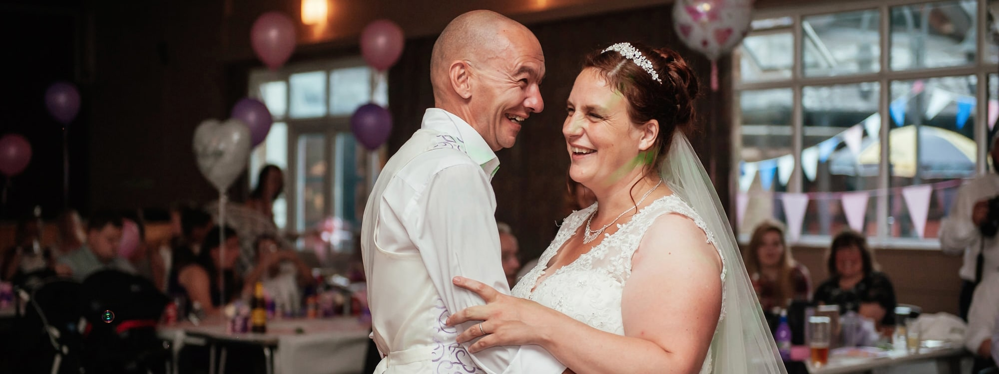 Couple laugh during First Dance in Harlow Essex