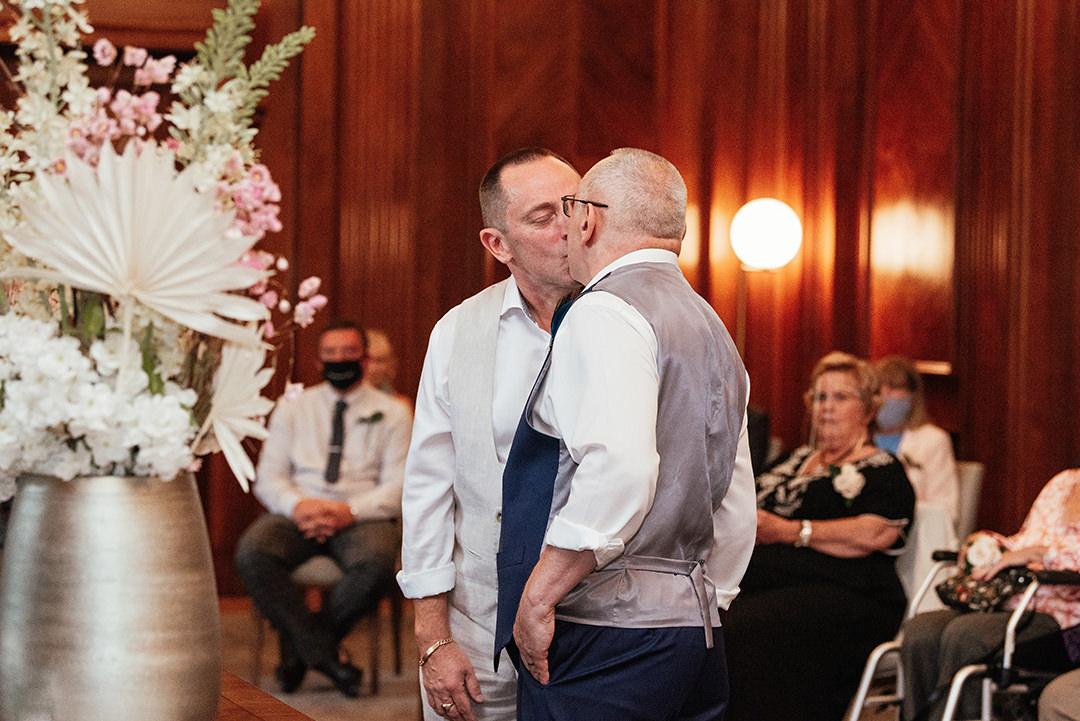 Groom's First Kiss Old Marylebone Town Hall Wedding
