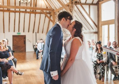 First Kiss at Skylark Golf Club wedding ceremony