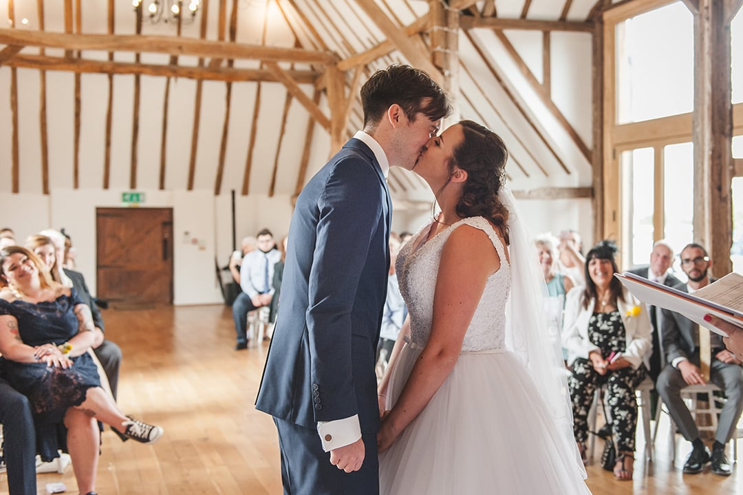 First Kiss at Skylark Golf Club wedding ceremony