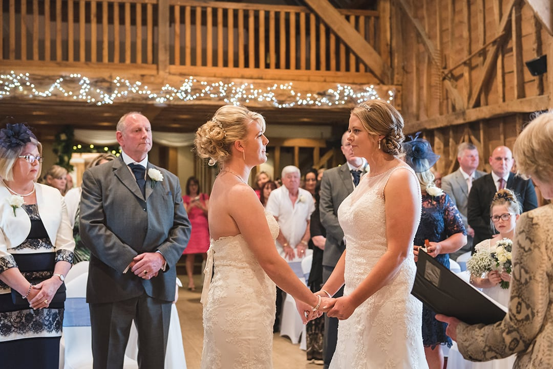Intimate wedding ideas Gorgeous Mrs and Mrs wedding ceremony at Tewin Bury Farm Hotel