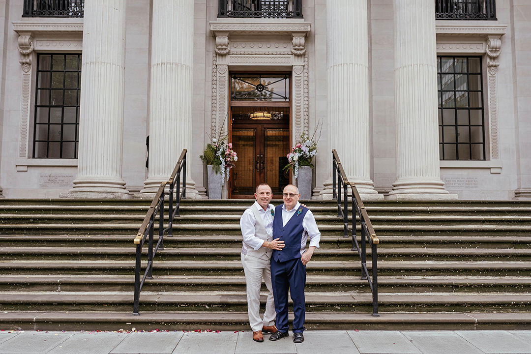 Grooms Just Married Standing Outside Old Marylebone Town Hall Wedding