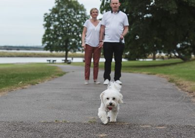 Maltese dog photography with couple