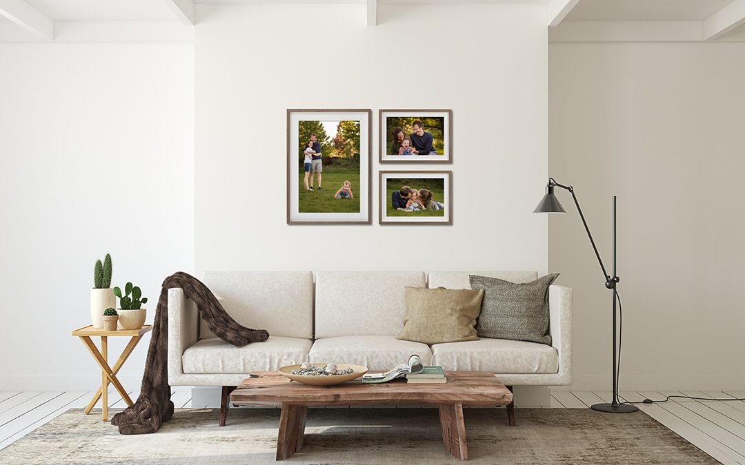 Family Photography framed Collection of 3 framed prints, one large portrait and two smaller landscape