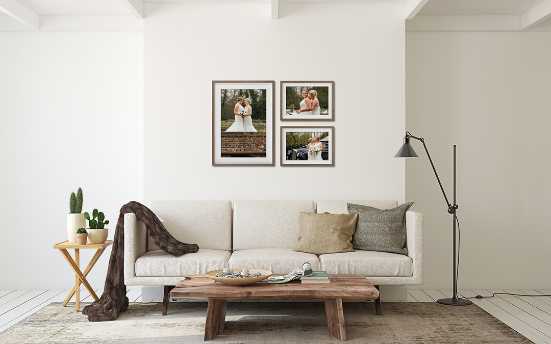 Wedding Photography framed Collection of 3 framed prints, one large portrait and two smaller landscape