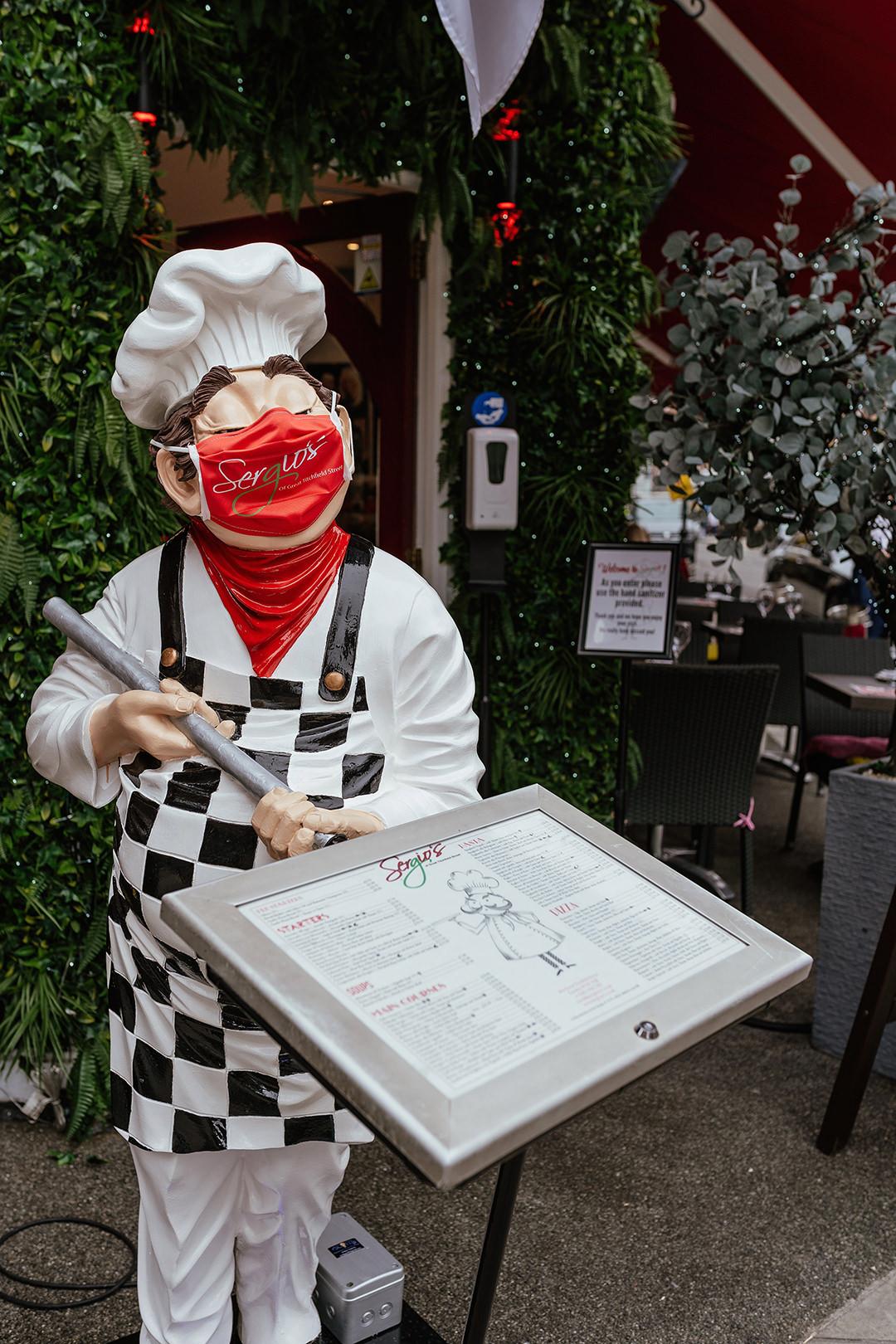 Masked Server at Sergio's Great Titchfield Street