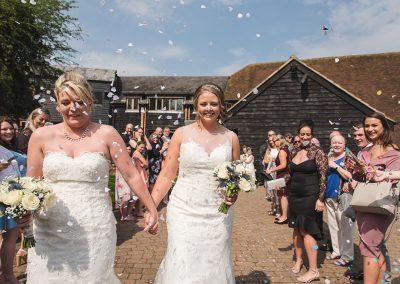 Bridal confetti shot at Tewin Bury Farm Hotel
