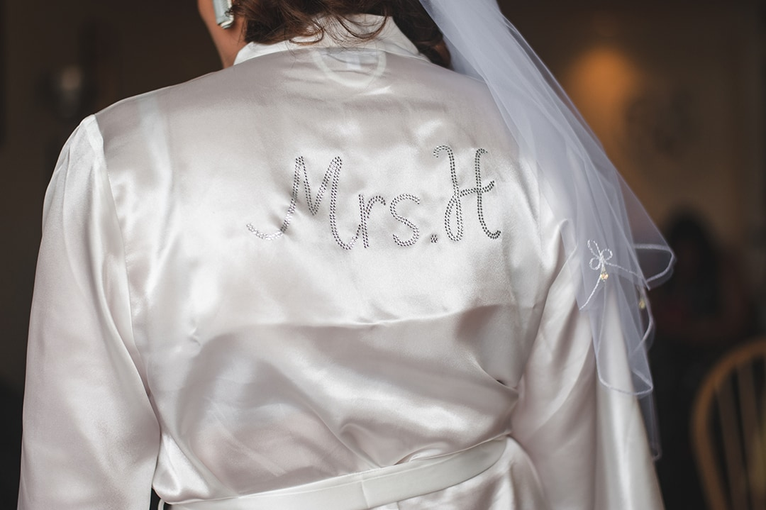 Intimate wedding ideas Personalised bridal dressing gown with Mrs H on