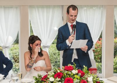 Grooms speech while bride gets emotional at Hunton Park