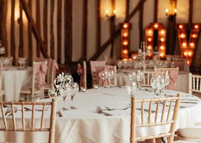 Table Decor at Crondon Park Wedding Venue