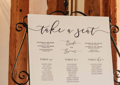 Table Plan at Crondon Park Wedding Venue