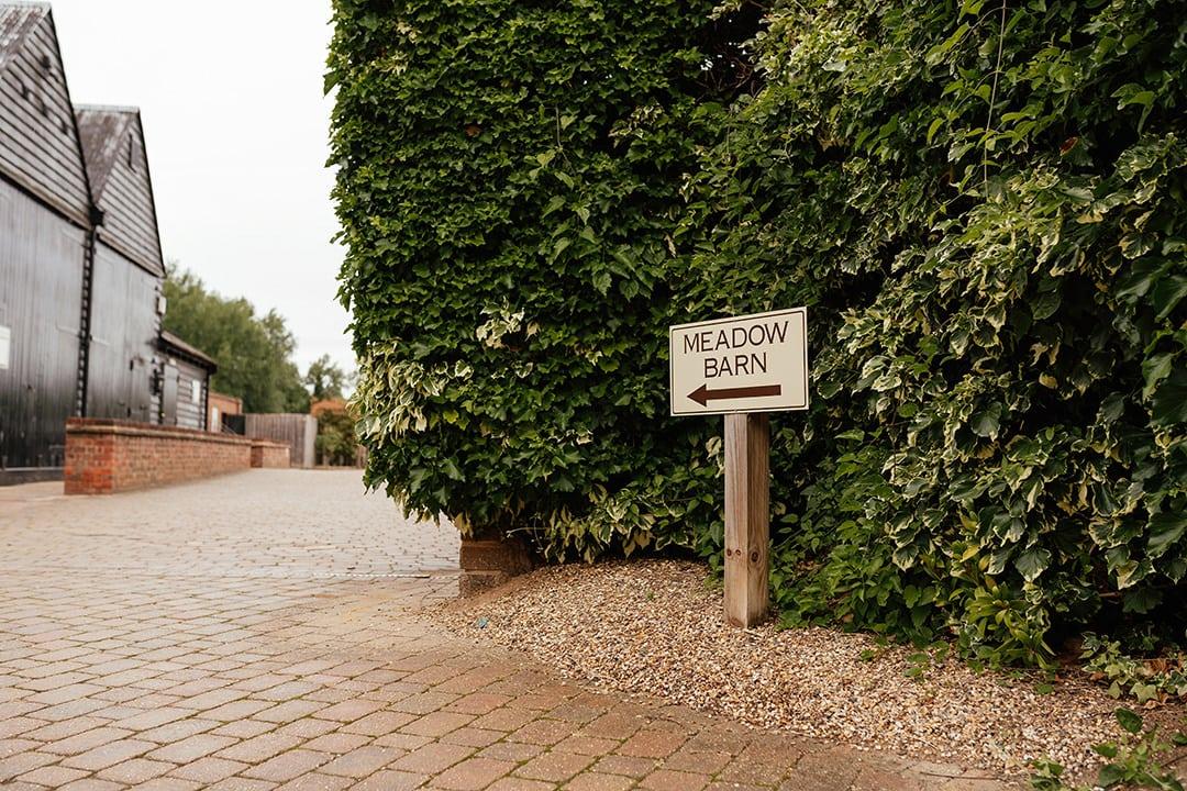 The Meadow Tewin Bury Farm Wedding Sign