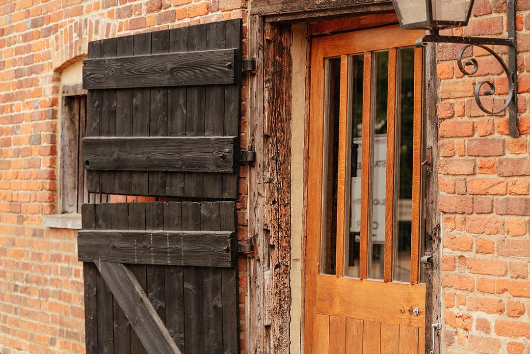 The Stable Barn Doors at Tewin Bury Farm Small Intimate Wedding Venue