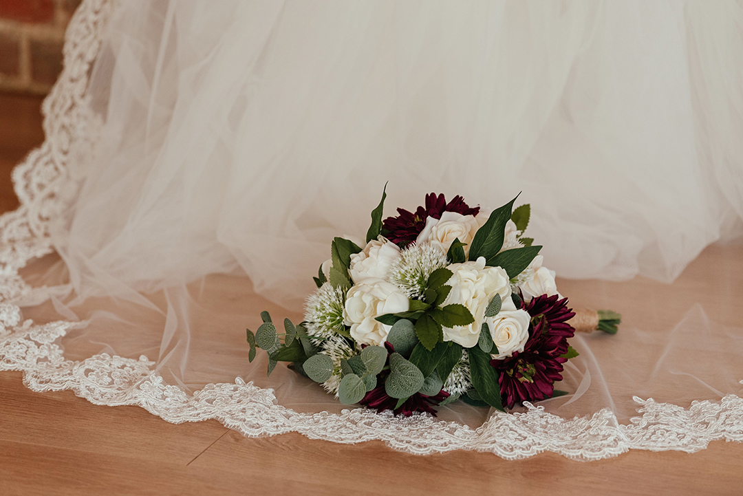 Wedding Bouquet on Wedding Veil