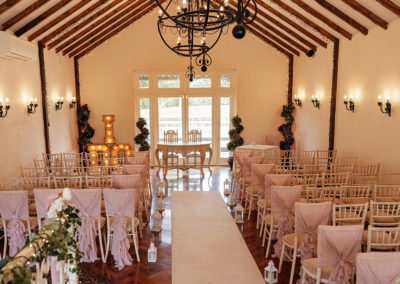 Wedding Ceremony Set up in the Ryder Room at Crondon Park